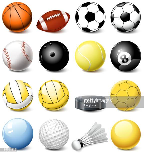 sports ball set - rubber stock illustrations, clip art, cartoons, & icons