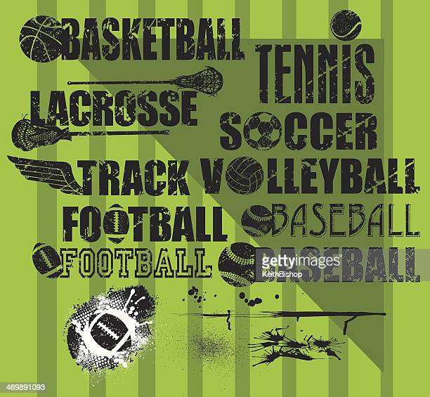 Sports Balls, Grunge Type with Splatters