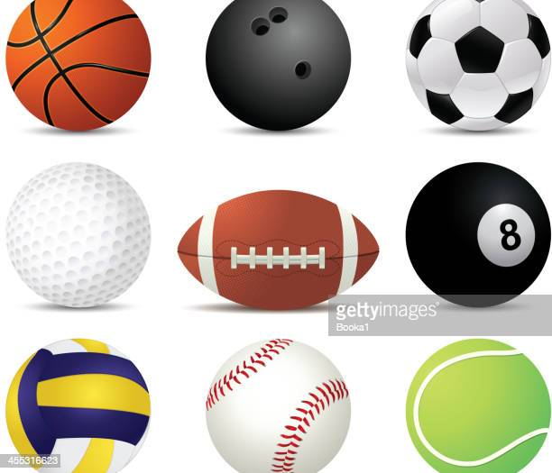 sports balls of nine different sports - volleyball ball stock illustrations