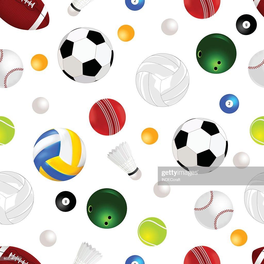 Sports Balls Seamless Background Vector Art