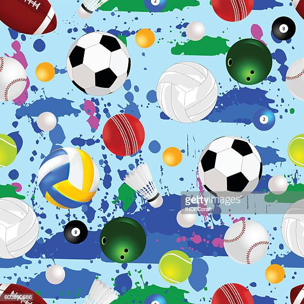 sports balls seamless background - pool ball stock illustrations, clip art, cartoons, & icons