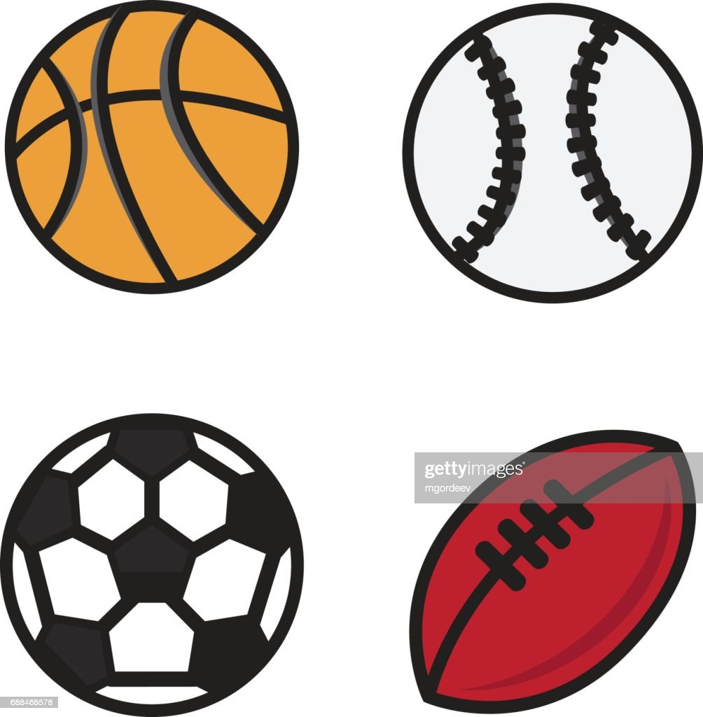 Sports Balls Vector Cartoon Ball Set For Soccer Rugby Basketb High Res Vector Graphic Getty Images