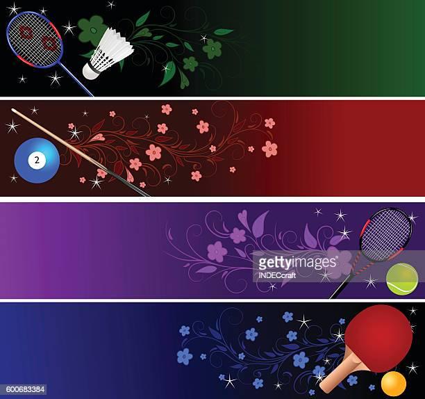 sports  banner - badminton racket stock illustrations, clip art, cartoons, & icons