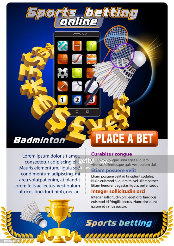 Sports betting badminton : stock illustration