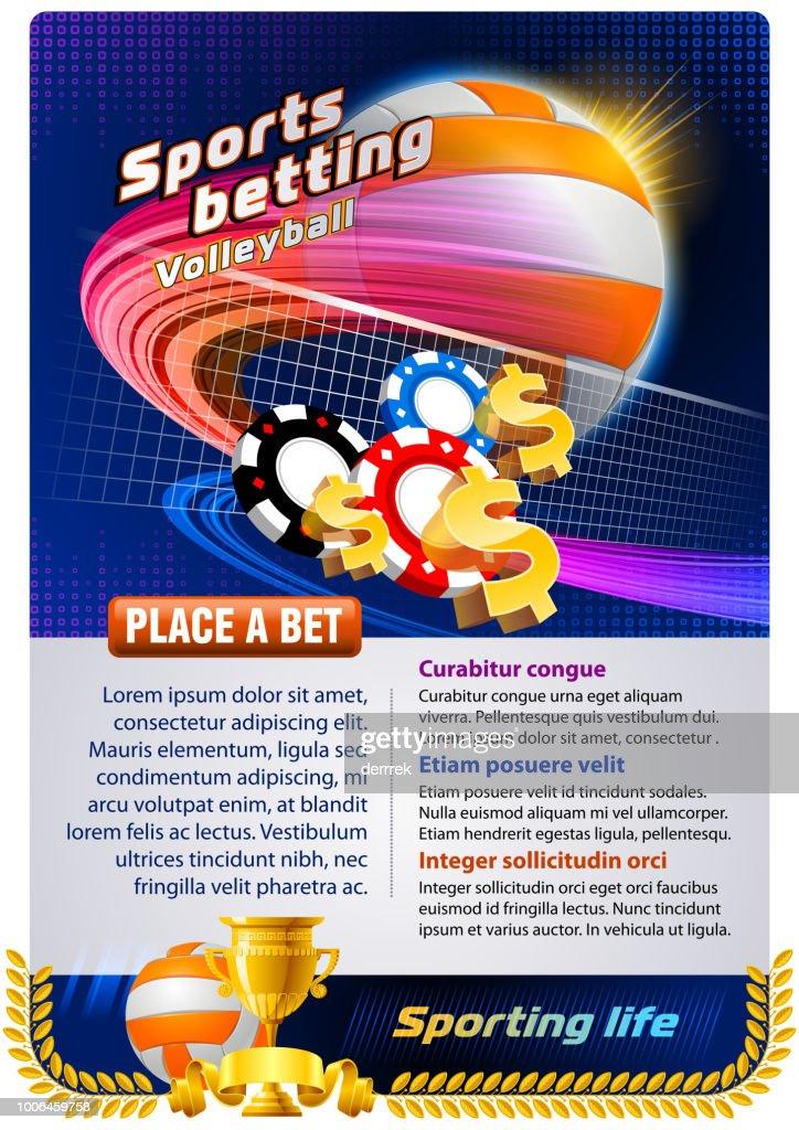 Sports betting volleyball : stock illustration