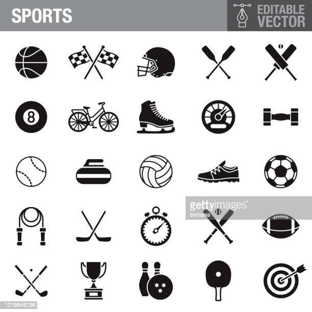 sports black glyph icon set - sports equipment stock illustrations
