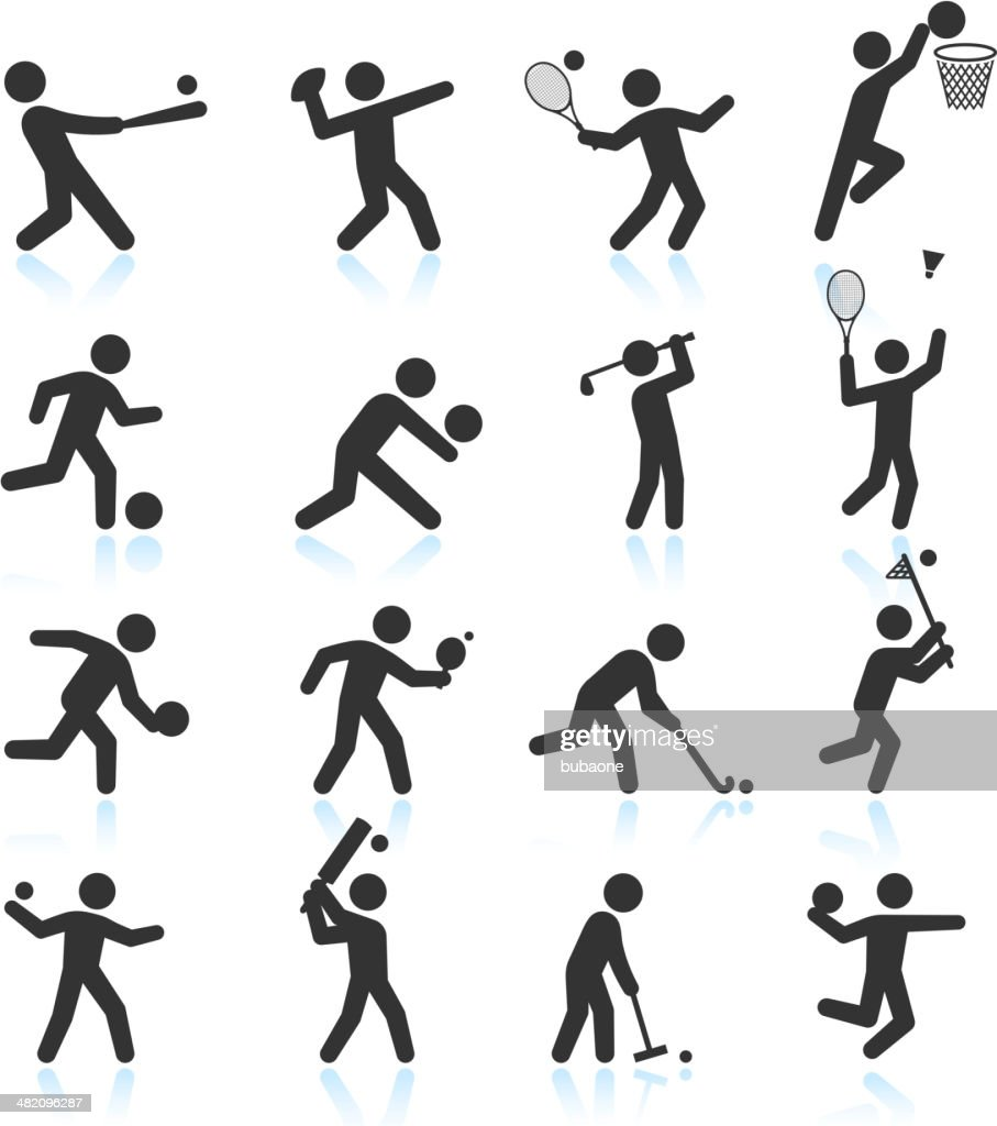 Sports black & white royalty free vector icon set