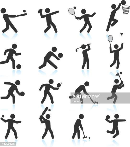 sports black & white royalty free vector icon set - tennis stock illustrations