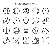 Sports, bold line icons