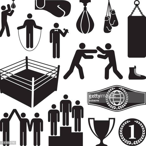 sports & boxing black and white royalty-free vector icon set