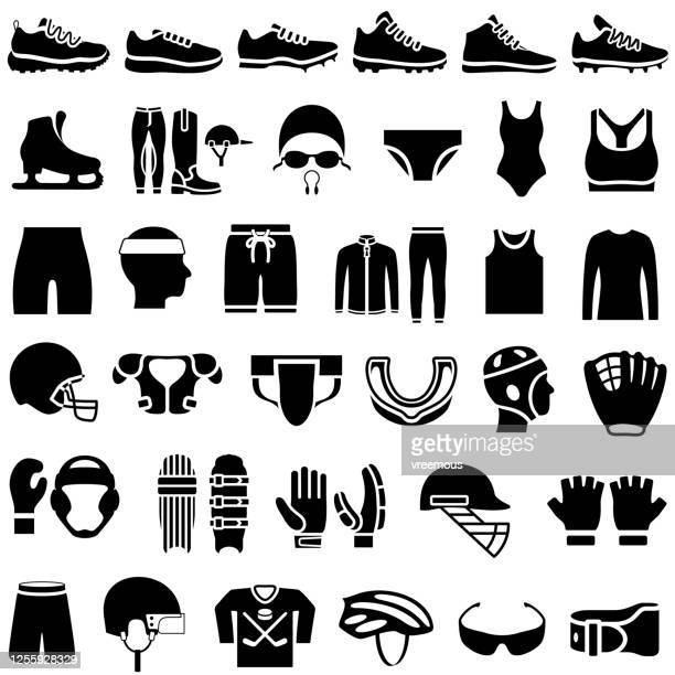 sports clothing icons set - sports jersey stock illustrations