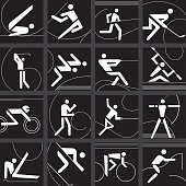 Sports competition icons set