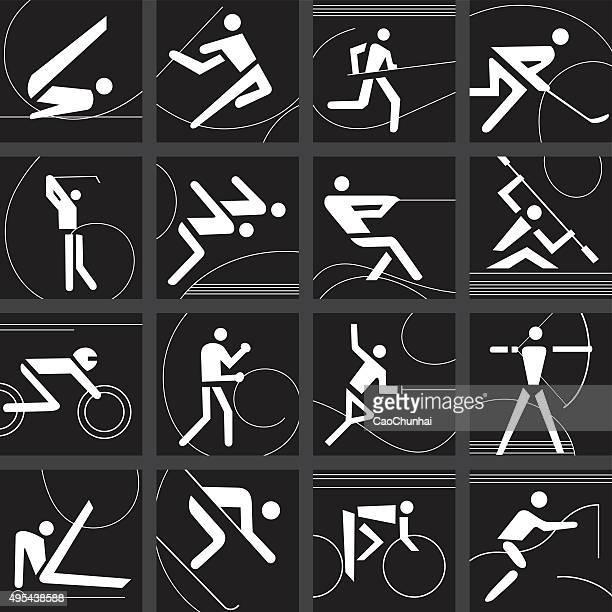 illustrations, cliparts, dessins animés et icônes de ensemble d'icônes de compétition sportive - événement sportif d'hiver