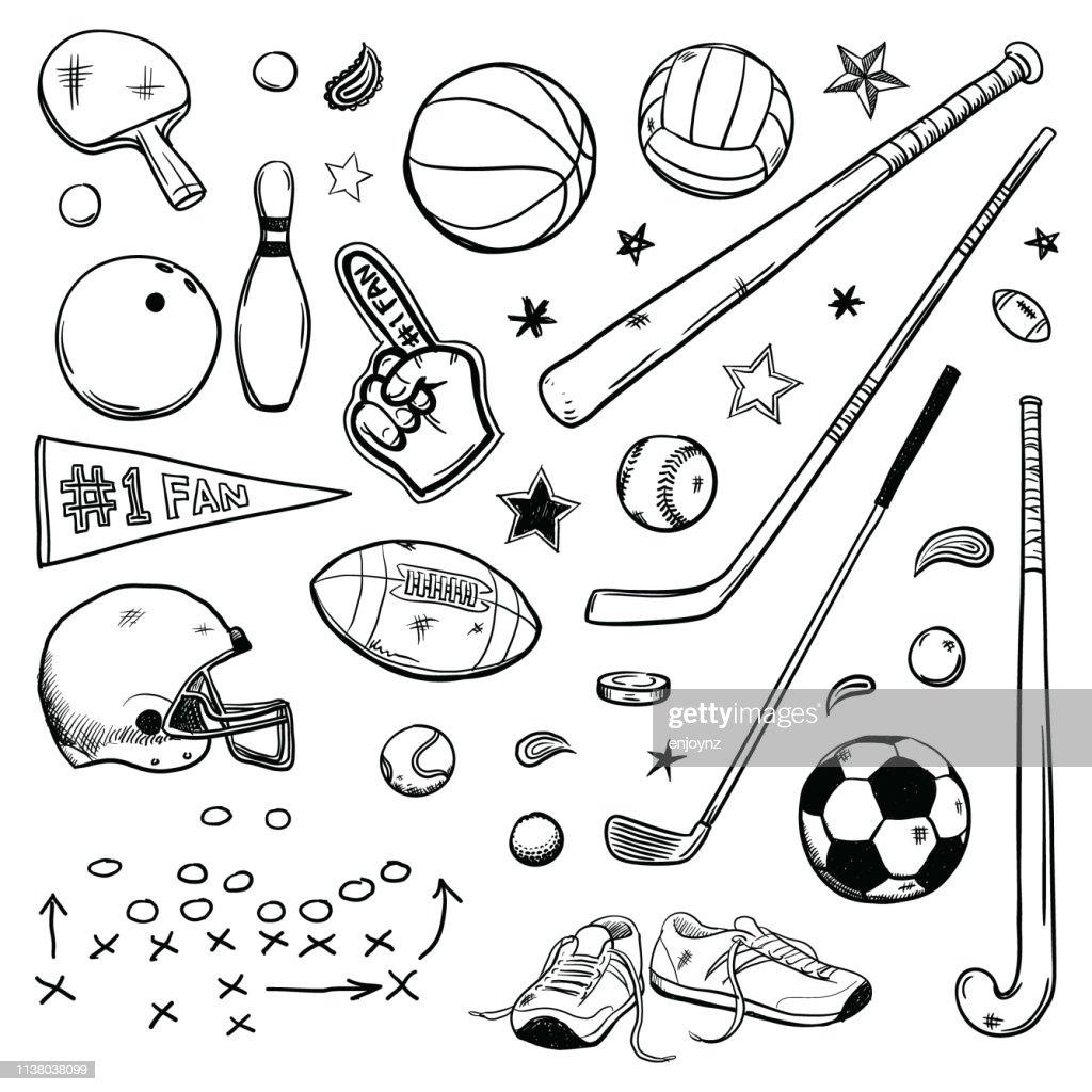 Sports doodles : Stock Illustration