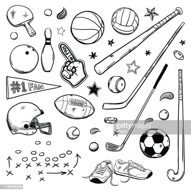 illustrazioni stock, clip art, cartoni animati e icone di tendenza di sports doodles - calcio sport