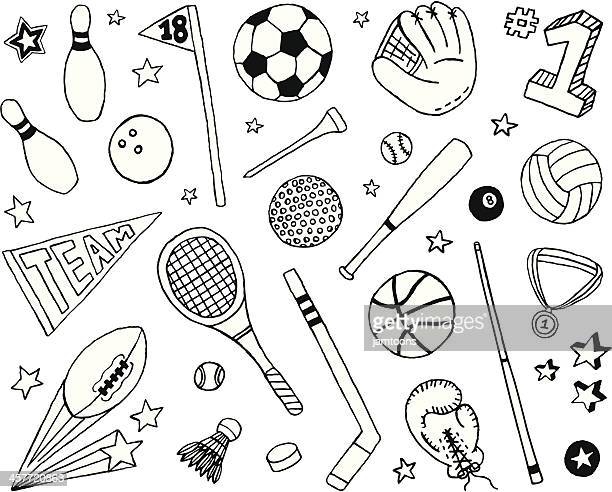 sports doodles - american football sport stock illustrations