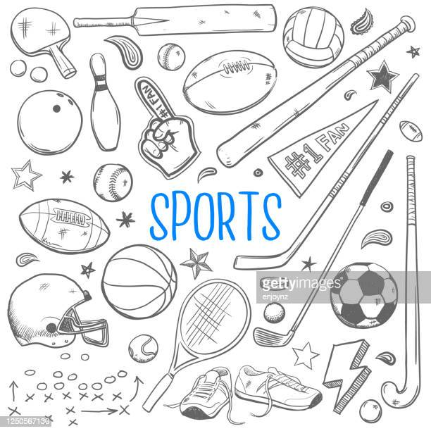 sports doodles vector illustration - cricket bat stock illustrations
