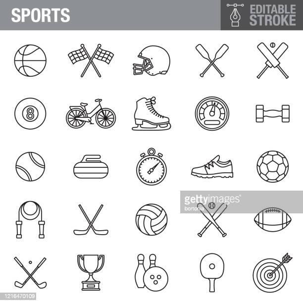 sports editable stroke icon set - pool ball stock illustrations