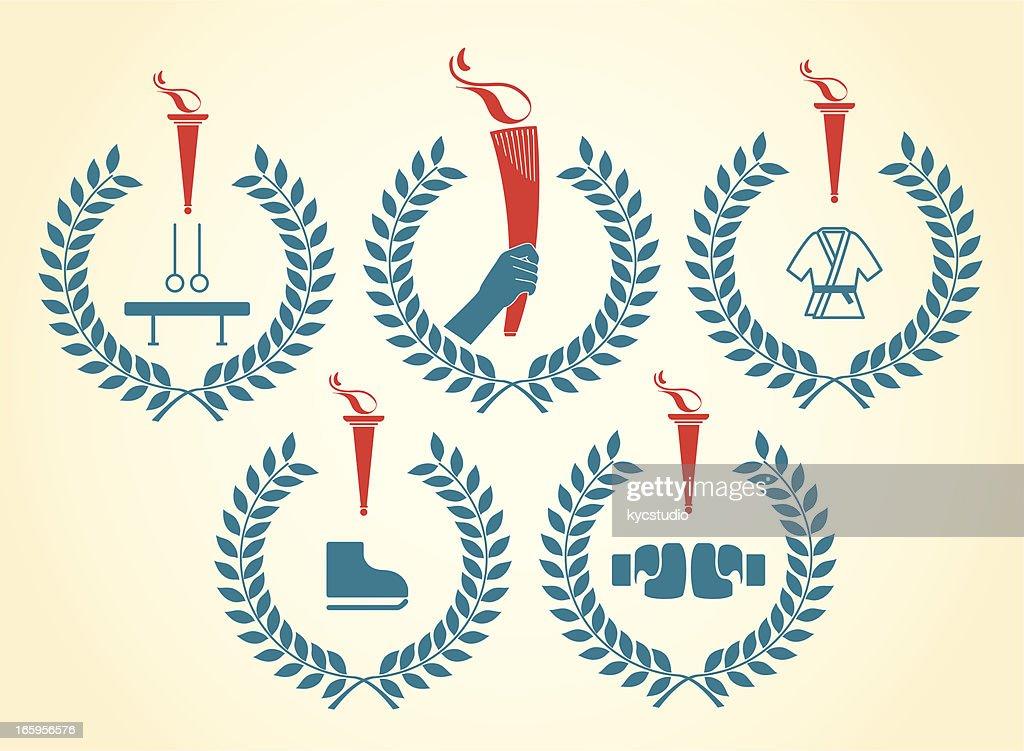 . sports emblems : stock illustration
