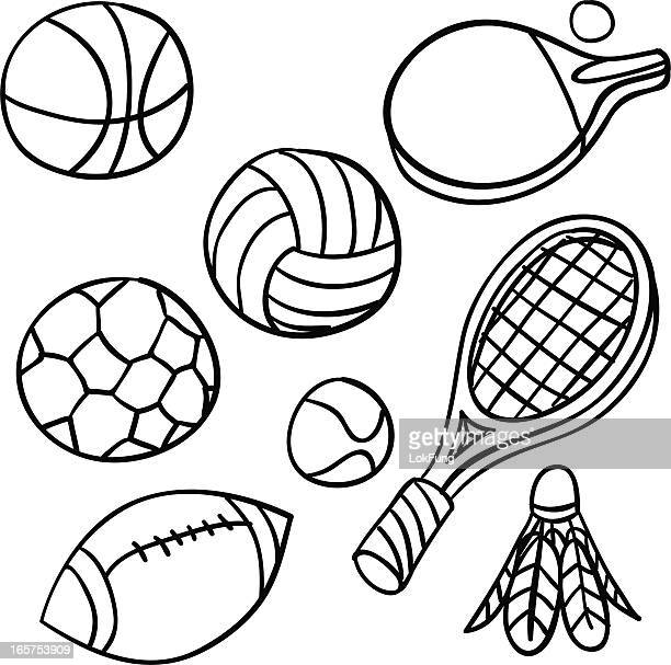 sports equipment collection in black and white - badminton sport stock illustrations, clip art, cartoons, & icons