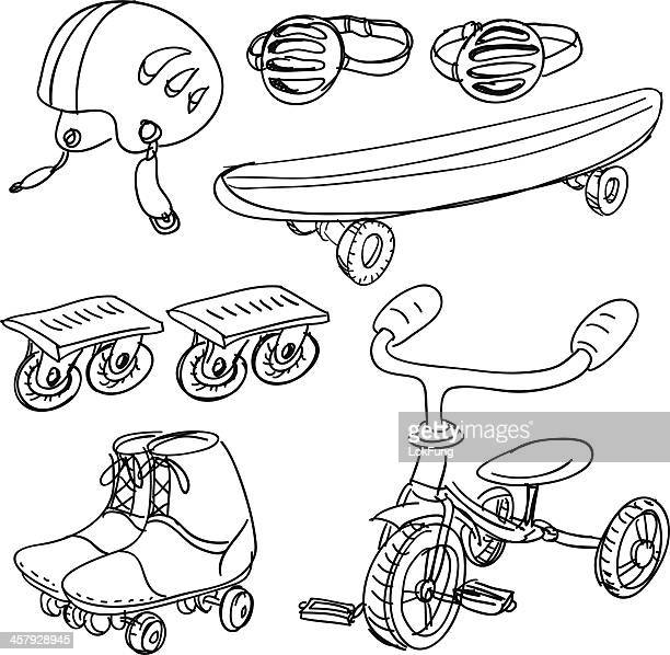Sports equipment in sketch style
