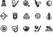 Sports equipment silhouette icon set