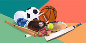 Sports equipment with a football basketball baseball soccer tennis ball volleyball boxing gloves and badminton as a symbol of sports online on colorful background. vector and illustration.