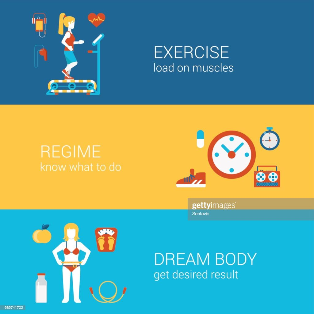 Sports Exercise Fitness Workout Concept Flat Icons Banners Template Set Gym Training Regime Get Fit Dream