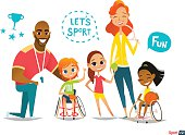 Sports family. Handicapped Kids in wheelchairs playing ball and have
