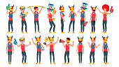 Sports Fan Vector. Outfits Shouting. Cheering At The Stadium. Different Poses. Isolated Flat Cartoon Character Illustration