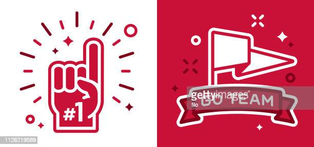sports fans cheering symbols - fan enthusiast stock illustrations