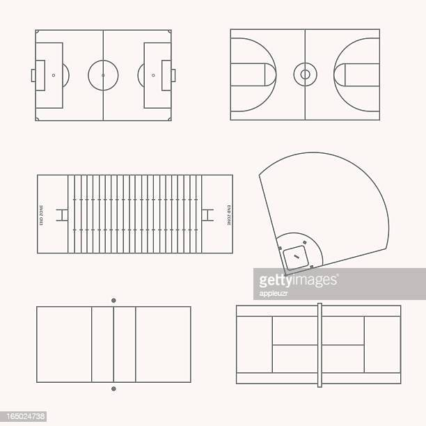 sports fields - football field stock illustrations, clip art, cartoons, & icons