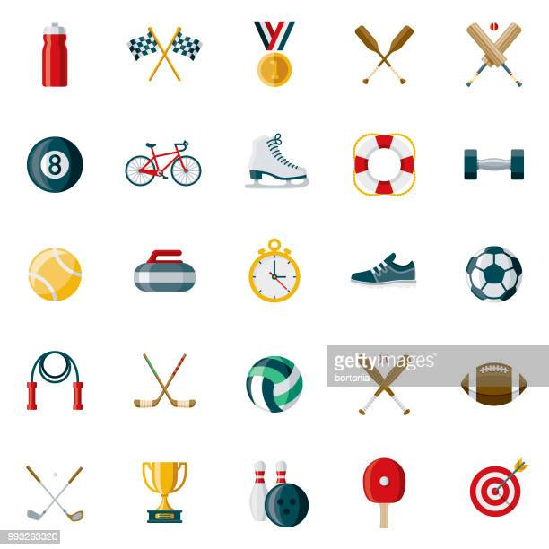 sports flat design icon set - baseball sport stock illustrations