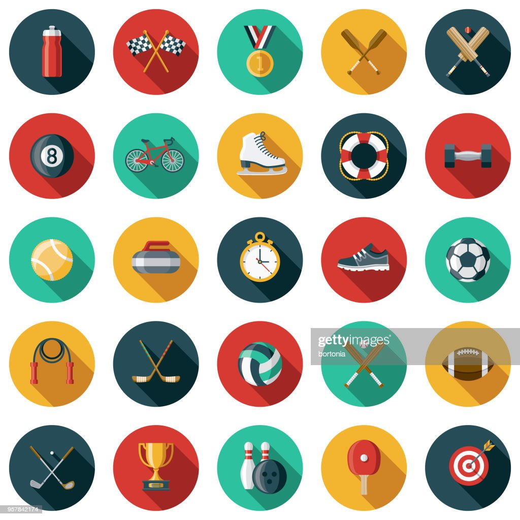 Sports Flat Design Icon Set with Side Shadow : stock illustration