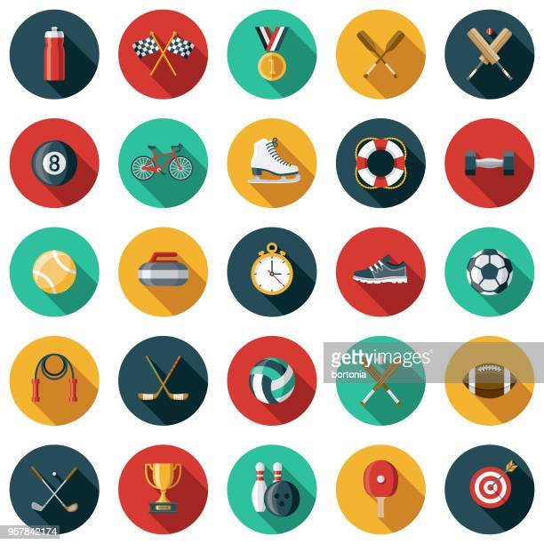 sports flat design icon set with side shadow - sports equipment stock illustrations
