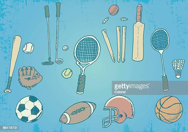 sports freak! - cricket bat stock illustrations