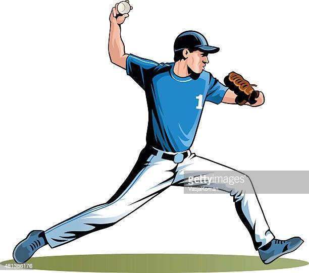 sports game of baseball - pitcher - baseball pitcher stock illustrations