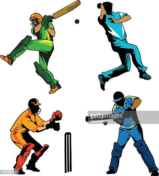 sports game of cricket - players playing - batting stock illustrations