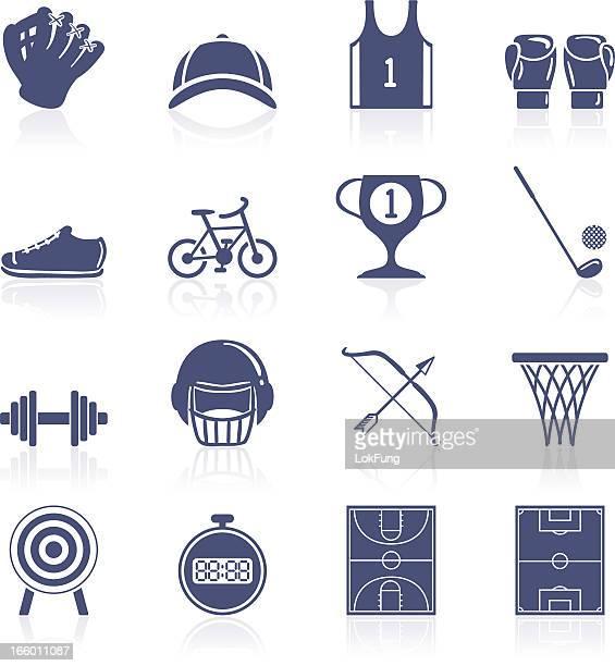 ilustraciones, imágenes clip art, dibujos animados e iconos de stock de colección de iconos de deportes - cancha futbol