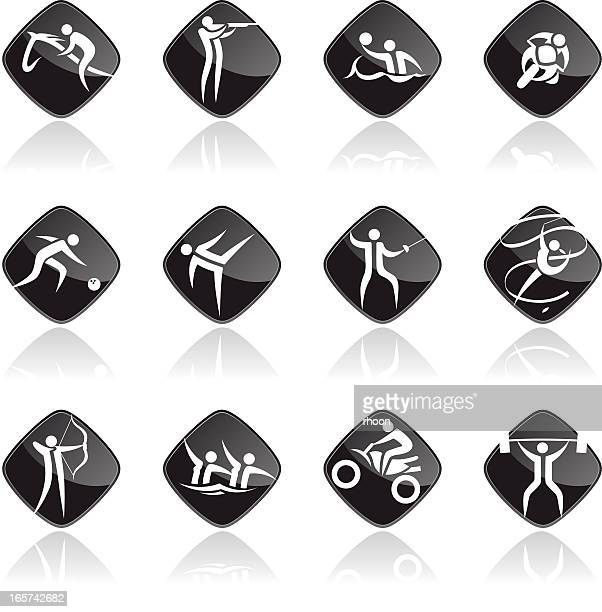 sports icon set black - ribbon routine rhythmic gymnastics stock illustrations