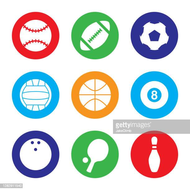 sports icon set colorful - bowling pin stock illustrations
