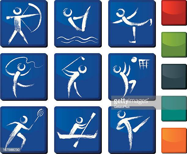 sports icon set - ribbon routine rhythmic gymnastics stock illustrations