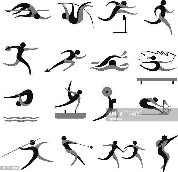 sports icon set - hurdle stock illustrations