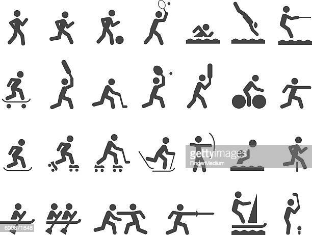 sports icon set - racewalking stock illustrations, clip art, cartoons, & icons
