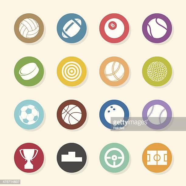ilustraciones, imágenes clip art, dibujos animados e iconos de stock de deportes iconos-color círculo serie - cancha futbol