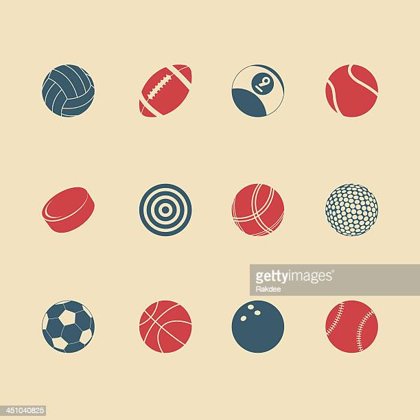 sports icons - color series | eps10 - pool ball stock illustrations