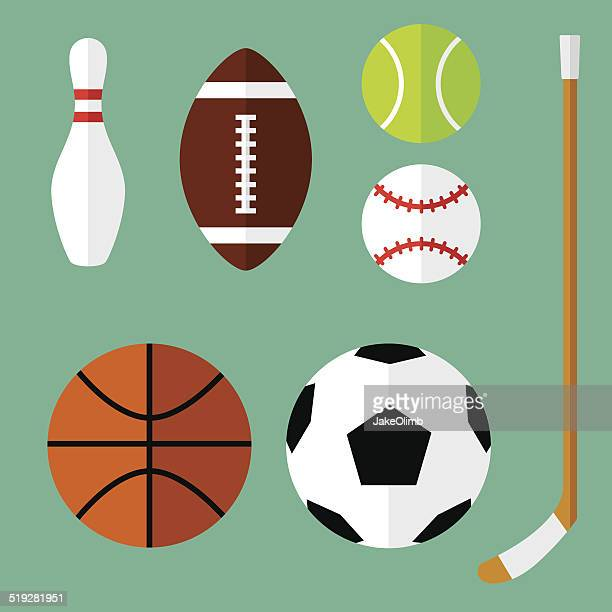 sports icons flat 1 - sports ball stock illustrations