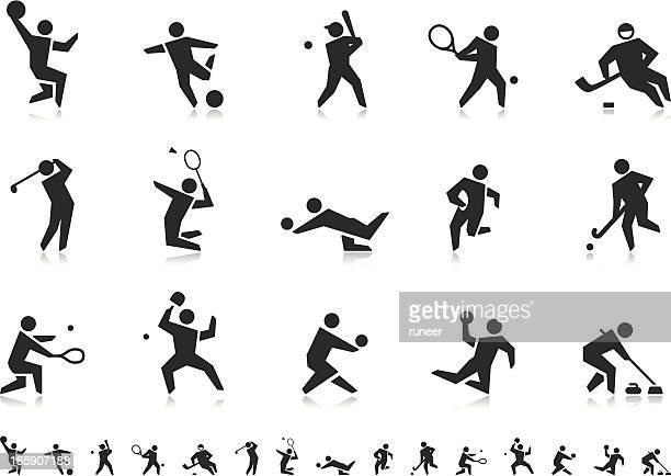 ilustraciones, imágenes clip art, dibujos animados e iconos de stock de juegos de bola deportes iconos (serie)/pictoria - vóleibol de playa