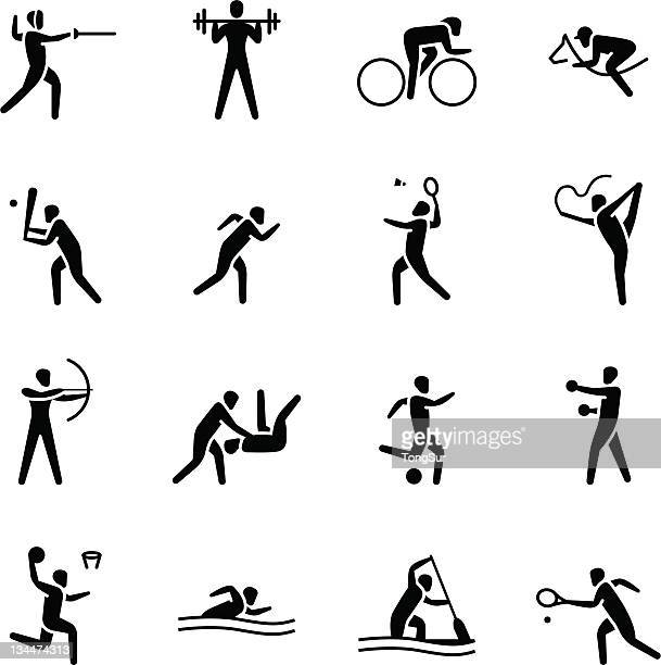 ilustrações de stock, clip art, desenhos animados e ícones de ícones do desporto/conjunto 1 - judo
