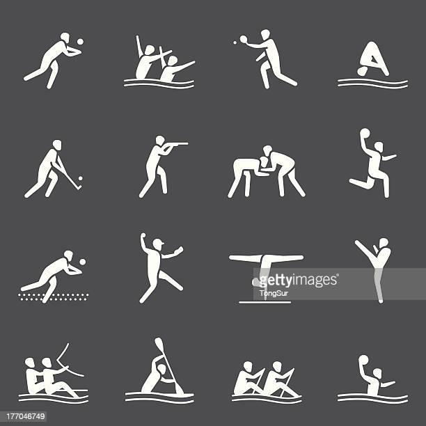 ilustraciones, imágenes clip art, dibujos animados e iconos de stock de sports icons/set 2-serie blanco - vóleibol de playa